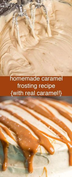 Homemade Caramel Frosting Recipe with real melted caramel whipped inside. This easy caramel buttercream is perfect for cookies, cakes and cupcakes. Homemade Caramel Frosting {From Scratch Caramel Buttercream Recipe} via (cake decorating frosting recipe) Fondant Au Caramel, Caramel Buttercream, Caramel Frosting, Buttercream Recipe, Carmel Frosting Recipe, Caramel Filling For Cake, Cream Cheese Buttercream, Best Cake Recipes, Cupcake Recipes