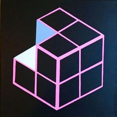 Op Art Geometric Cube Painting  By Artist Dominic Joyce  Painted with Daler Rowney Acrylic on a Loxley Stretched Deep EdgeCanvas  Size = 12 x 12 x 1.5 inches  When posted painting will be c...