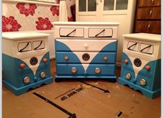 VW Camper drawers and bedside table.