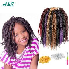 24 roots micro crochet braids 10 inch Havana Mambo Twist kids crochet braids kids extensions Senegalese Twists for teenagers