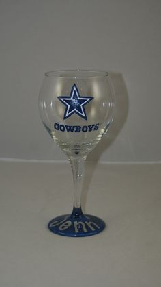 Dallas Cowboys Wine Glass Hand Painted by 1stStateSassyGlass, $18.00