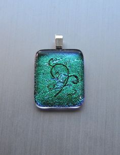 Emerald green dichroic handmade glass pendant with by Kaelay