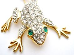 Vintage Frog Figural Brooch Clear Rhinestone Green Eyes Large Gold Toad Pin | eBay