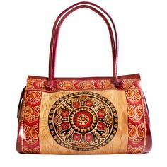 0c322433af Handicraftsvillauk Ethnic Circle Batik Design Shantiniketan Style Leather  Bag.