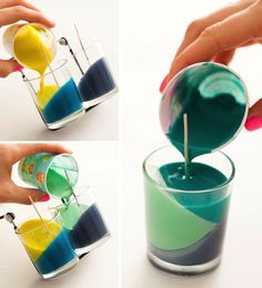 Use Crayons to Create Color Block Candles - Diy Art Crafts