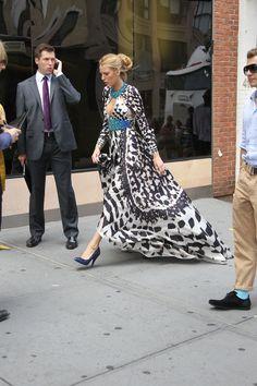 Blake Lively Black White Turquoise Dress
