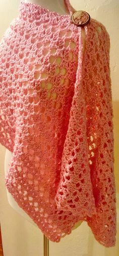 This Victoria Lacy Shawl Crochet Pattern only has two rows. Once you get started, you just complete the two rows until you have made the lacy shawl to the desired length. You will be amazed at how quickly each row of crochet is completed. Poncho Au Crochet, Crochet Prayer Shawls, Crochet Shawls And Wraps, Crochet Scarves, Crochet Clothes, Crochet Lace, Crochet Edgings, Crochet Motif, Prayer Shawl Crochet Pattern
