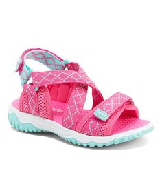 Take a look at this Pink & Turquoise Splash Sandal today!