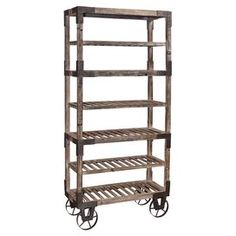 "An eye-catching addition to your living room or den, this vintage-inspired display shelf showcases a weathered grey finish and convenient castered design.  Product: Display shelfConstruction Material: Wood and metalColor: Weathered greyFeatures:  Wheeled baseMetal accentsSlatted design Six tiersDimensions: 78"" H x 36"" W x 16"" D"