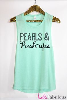 Pearls and Push-ups Workout Tank Top. Sweating for the Wedding Tank. Woman's Muscle Tank. Bride tank. Running Tank. Cross trainingTank Top. by HelloFabulousApparel on Etsy (null)