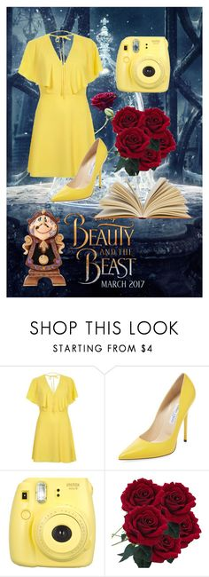 """Modern Day Belle"" by kimberlyhurst38 ❤ liked on Polyvore featuring beauty, Disney, River Island, Jimmy Choo, Fujifilm and modern"
