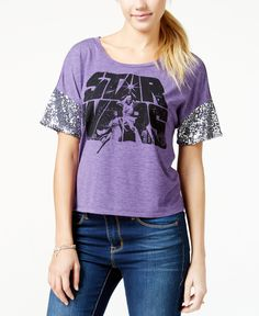 Juniors' Sequined Star Wars Logo Graphic T-Shirt from Hybrid