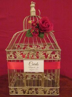 #birdcageweddingcardholder #weddingbirdcage #weddingcardholder http://theweddingdecorplace.theweddingmile.com/items/details/88087-birdcage-card-box-champagne-with-red-roses-wedding-card-holder-bird-cage