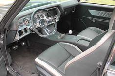 70 chevelle #BecauseSS grey white vinyl top, yenko stripe, ls3 6 speed. engine cover carbon fiber custom interior console door panels double din camaro seats two tone silver