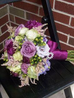 Flowers, Green, Purple, Bouquet, Brides