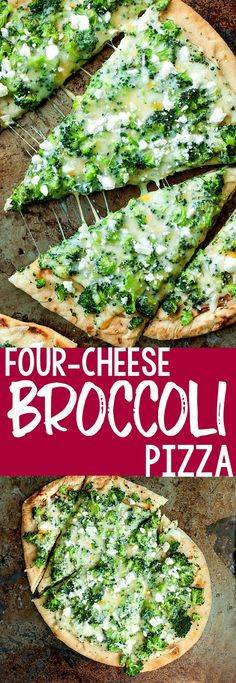 Four-Cheese Broccoli Pizza Recipe- Peas and Crayons You'll flip over this quick, easy, and delicious Four-Cheese Broccoli Pizza recipe! Use your favorite crust recipe or grab some fluffy naan flatbread for the speediest of shortcuts! Pizza Recipes, Grilling Recipes, Easy Dinner Recipes, Vegetarian Recipes, Cooking Recipes, Healthy Recipes, Four Cheese Pizza, Pizza Pizza, Pizza Party