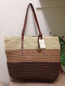 Lucky Brand Cognac Striped Tango Tote Shopper Bag Shoulder Handbag XL | eBay