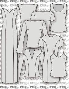 Moldes de regatas, blusas e vestidos tubo