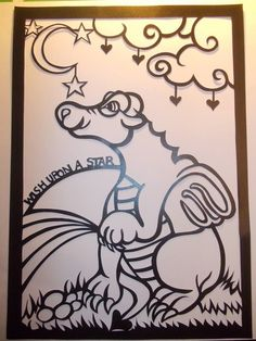 Original, hand drawn 'Wish upon a star dragon' papercut by Nina Byers. Ready to have some colour added.