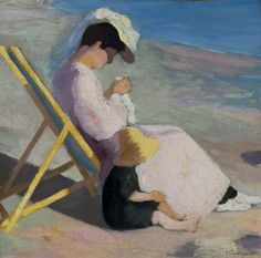 Henri Manguin  (French, 1874 - 1949)  Figures on a beach, Jeanne et Claude  Manguin, 1902  Oil on canvas, 33x34 cm