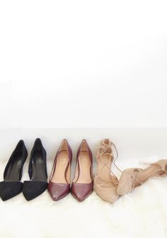 Pumps are the best way to dress up your street style! We love these black suede D'Orsay pumps, burgundy D'Orsay pumps and nude suede lace-up heels | Banana Republic