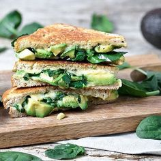 Grilled cheese w/ avocado, spinach and pesto by @planticize