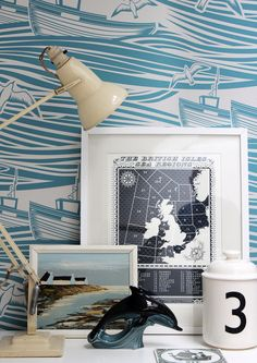 Love this wallpaper and overall styling - Mini Moderns — Whitby Wallpaper - Lido