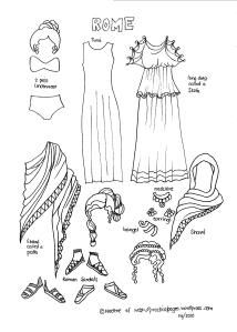 Free downloadable Ancient History paper dolls includes a page for Ancient Rome.