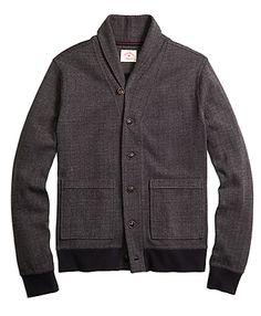 Shawl Collar Herringbone Cardigan