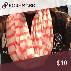 Peach and White infinity scarf Peach and white infinity scarf. Feel free to make an offer Wet Seal Accessories Scarves & Wraps