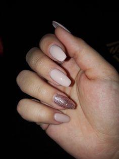 Nails pink sparkly long ballerina