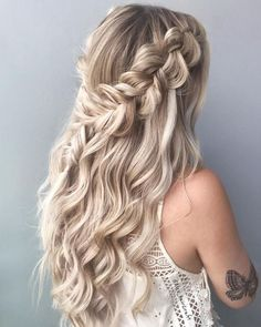 39 Best Braided Hairstyles Ideas 2019 - Page 3 of 4 - Stylish Bunny View Post Braided Prom Hair, Cute Braided Hairstyles, Formal Hairstyles, Down Hairstyles, Pretty Hairstyles, Fishtail Hairstyles, Fall Hairstyles, Braided Half Up Half Down Hair, Formal Hair
