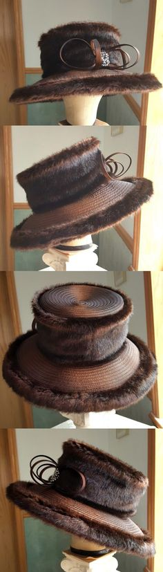 Women Formal Hats: Ashro Whittall And Shon Women S Brown Faux Fur Hat -> BUY IT NOW ONLY: $69.99 on eBay!