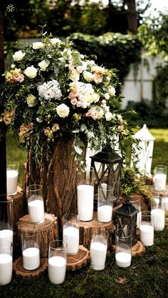 Outdoor wedding reception party decorations with candles and flower bouquet | ou Outdoor Wedding Isle, Wedding Reception On A Budget, Diy Outdoor Weddings, Outdoor Wedding Decorations, Reception Party, Wedding Centerpieces, Wedding Simple, Simple Weddings, Wedding Rustic