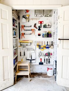 How to create an organized paint storage system in a utility closet using DIY shelving, pegboard, and a basic organizing kit.