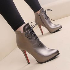 Online Shop 2015 New Arrivals fashion trend Flanging Lace martin boots Thin Ultra high heels boots platform street Red bottom boots High Heel Boots, Heeled Boots, Shoe Boots, Ankle Boots, High Heels, Dream Shoes, Crazy Shoes, Me Too Shoes, Pretty Shoes