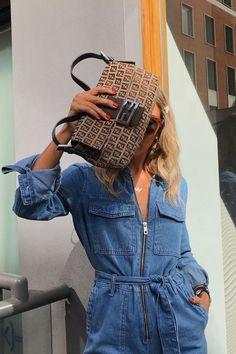 Topshop boilersuit: Topshop personal shopper Holly Jones wearing her denim jumpsuit with a Fendi bag Jumpsuit Outfit, Casual Jumpsuit, Denim Jumpsuit, Topshop, Baguette, Missoni, Jeans Overall, Karl Lagerfeld, Estilo Denim