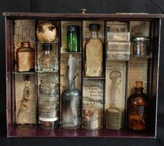 Apothecary Mixed Media Shadowbox Assemblage Complimentary Shipping