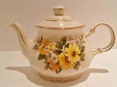 Vintage Sadler English Teapot  with Floral Design Yellow Flowers