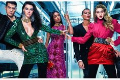 Balmain for H&M ~ From left: men's blazer ($699); Green sequin minidress dress ($199), leather belt ($149), necklace ($119), earrings ($39.99), bracelets ($99 each); Pink beaded sleeveless gown ($199), necklace ($119); Men's wool coat ($299); Pink silk high-neck blouse with gold button detail ($119), red silk pouf skirt ($119), belt ($199), earrings ($39.99), rings (range from $19.99 to $29.99)