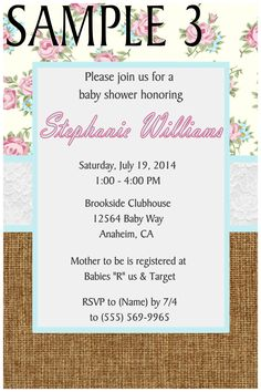SHABBY CHIC BABY SHOWER INVITATION- TO FOLLOW ME ON FB PLEASE CLICK ON THE PHOTO TWICE