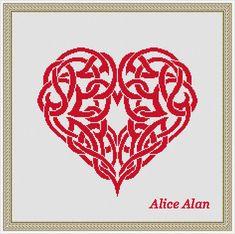 Cross Stitch Pattern Silhouette Heart Celtic ornament (druids) monochrome Counted Cross Stitch Pattern/Instant Download Epattern PDF File