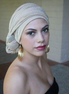 Gold Turban Chemo Hat Head Wrap Alopecia Scarf or Hijab. $44.95, via Etsy.