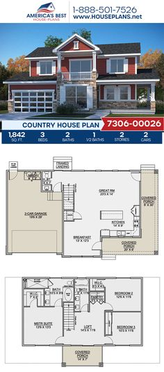 Fall in love with this Country home design! Plan 7306-00026 features 1,842 sq. ft., 3 bedrooms, 2.5 bathrooms, a breakfast nook, a kitchen island, an open floor plan, a wrap-around porch, and a loft. #countryhome #architecture #houseplans #housedesign #homedesign #homedesigns #architecturalplans #newconstruction #floorplans #dreamhome #dreamhouseplans #abhouseplans #besthouseplans #newhome #newhouse #homesweethome #buildingahome #buildahome #residentialplans #residentialhome