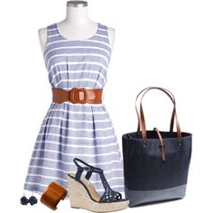 This striped blue dress is one of the most beautiful summer dresses EVER!!!! Love the brown belt with it too! cut heels and navy bag and earrings and brown braclet.