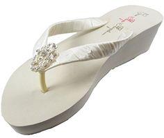 824a9feaba3e9 Bow Flip Flops Womens Bridal Wedding Platform Heel Satin Rhinestone Flip  Flops 5 M US