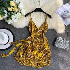 V-Neck Printed Bow Waist Strap Mini Dress Shoe Pattern, Spandex Dress, Vacation Dresses, Flare Skirt, Fashion Online, Evening Dresses, Fashion Dresses, Bodycon Dress, Bows