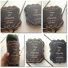 Great for the wine on your holiday table to to bring with you : Waterproof Fancy Personalized Wine Labels from Esty