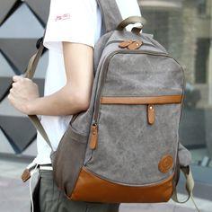 Fashionable canvas PU patchwork men's backpack college student school book bag vintage travel bag leisure laptop shoulder bag