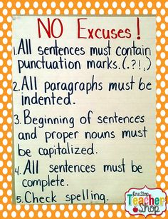 No Excuses Anchor Chart for Writer's Workshop
